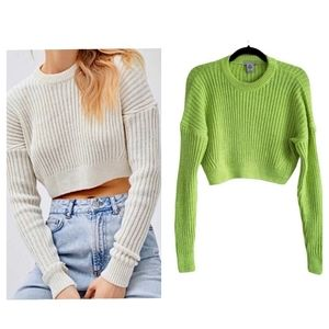 NWT UO cropped crewneck sweater neon green small